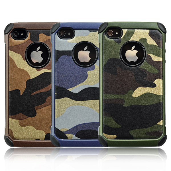 Defender Shockproof Drop proof High Impact Armor Plastic and Leather TPU Hybrid Rugged Camouflage Case for Apple iPhone4/4S