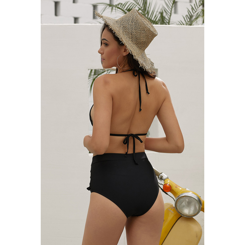 Sexy Latest Hot White Mesh Insert High Waist Swimwear Woman Bikini
