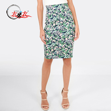Womens Fashion Clothing Manufacturer High Waist Floral Print Fitted Knee Length Pencil Skirt