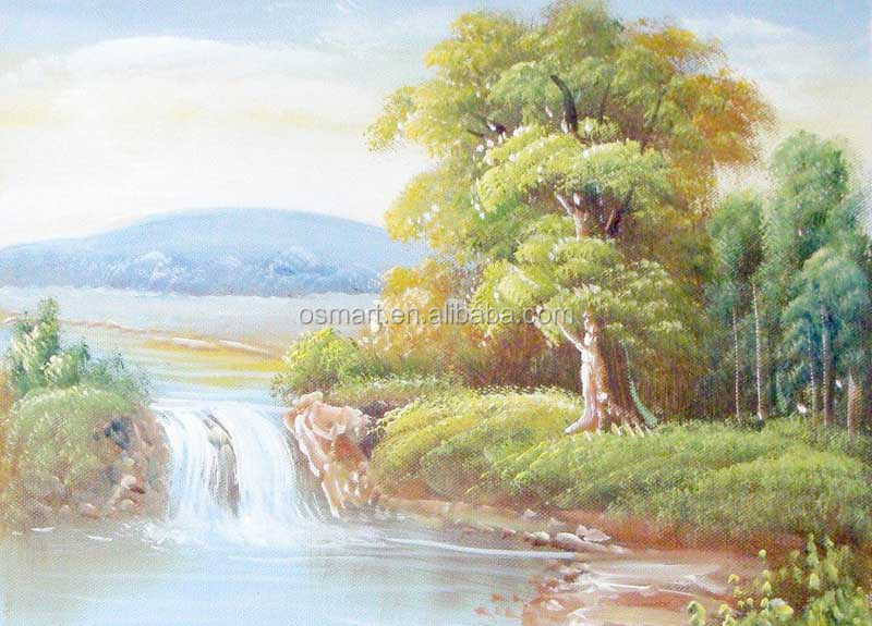 Impression mountain stream waterfall Chinese style classic painting painters abstract oil painting in canvas