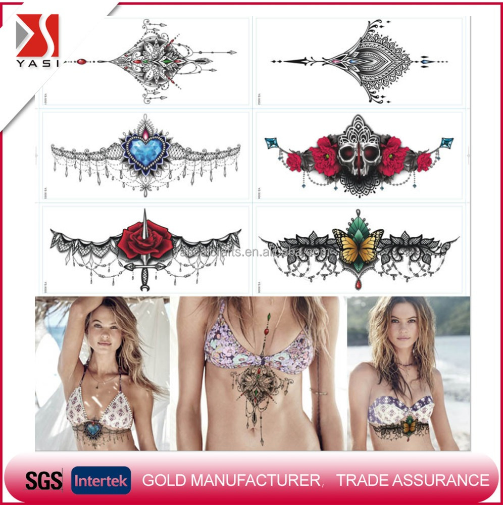 Hot product cheap waterproof temporary tattoo sticker/chest jewellery tattoo