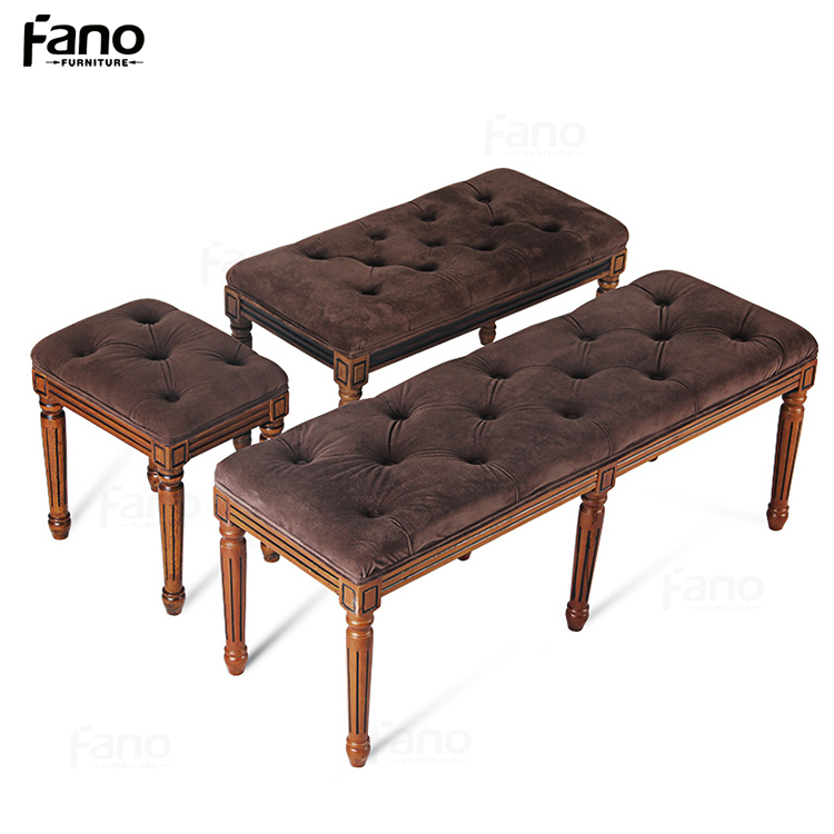 high quality customized french style retro fabric button tufted ottoman