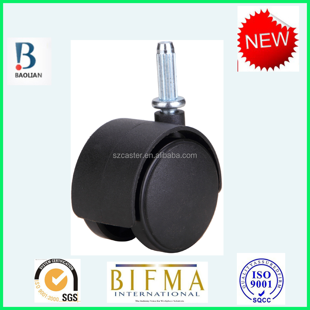 Factory price small 40mm black furniture caster with steel rub rachis