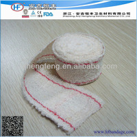 Surgical crepe elastic bandage,cotton crepe elastic bandage with red/blue thread