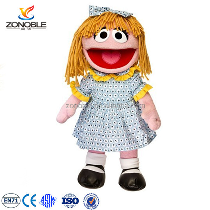 Custom plush puppet doll for theater funny dress up soft stuffed plush baby doll toy