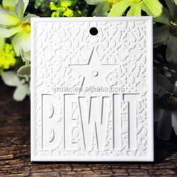square shape customize size and pattern home freshener hanging scented ceramic