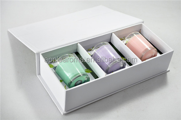 3 pcs glass jar scented soy wax candle gift set packing