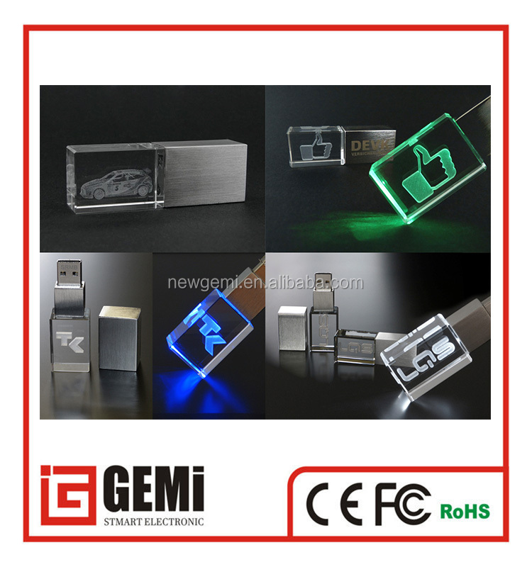 new products 2016 usb stick LED crystal material usb free sample free logo