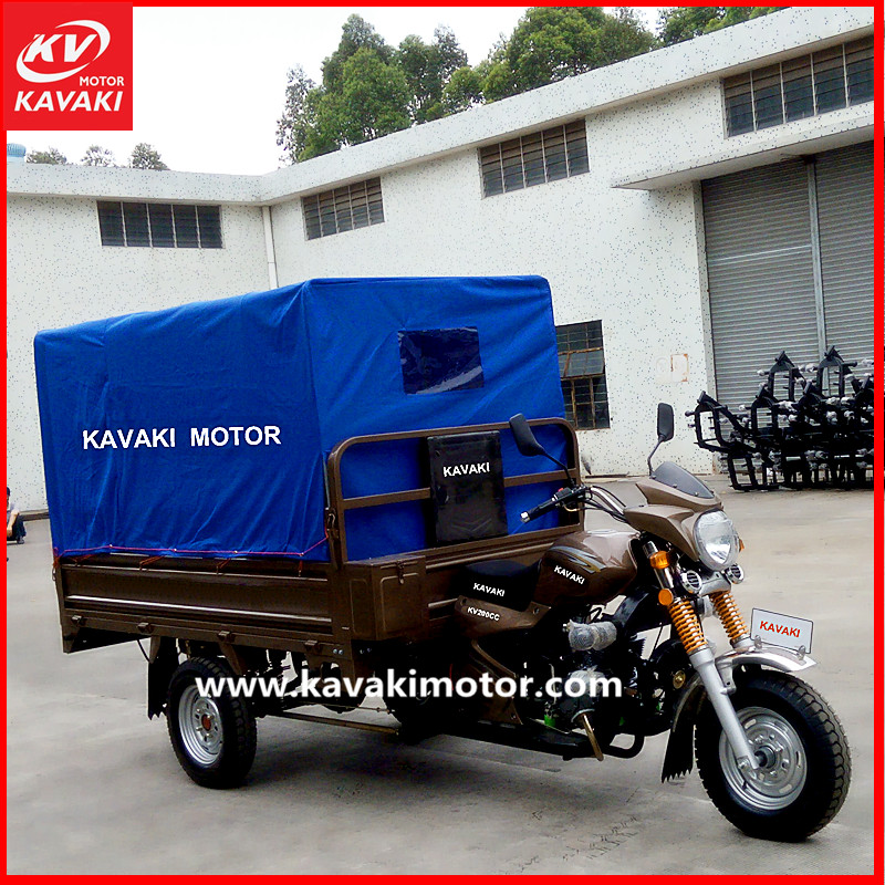 Enclose gasoline motorcycle china cars adult truck automobile with cabin in pakistan