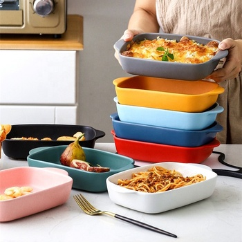Hotel decorative solid color rectangle cheap price  stoneware bakeware for Baked spaghetti