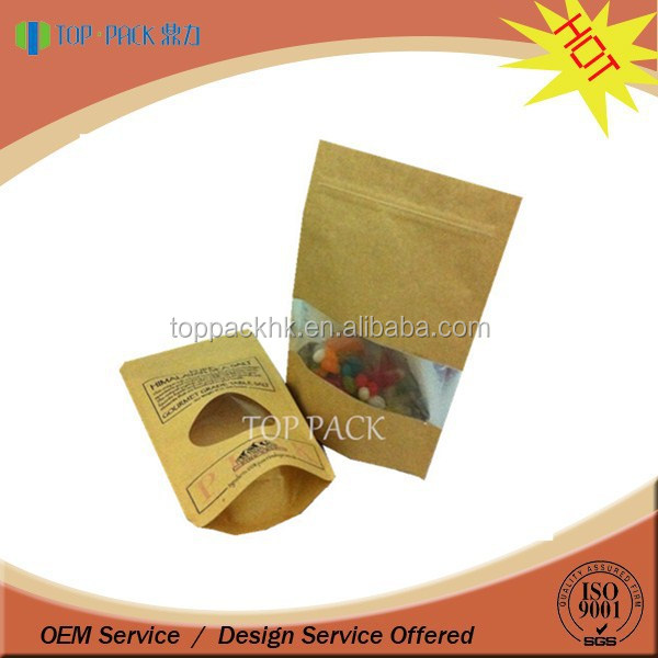 Hot sale custom design standing brown kraft paper bag with window