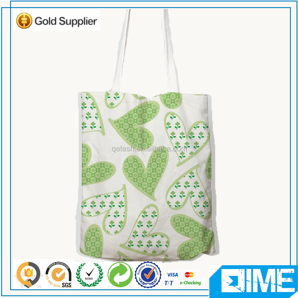 Customized silk printing canvas tote shopping pouch bag