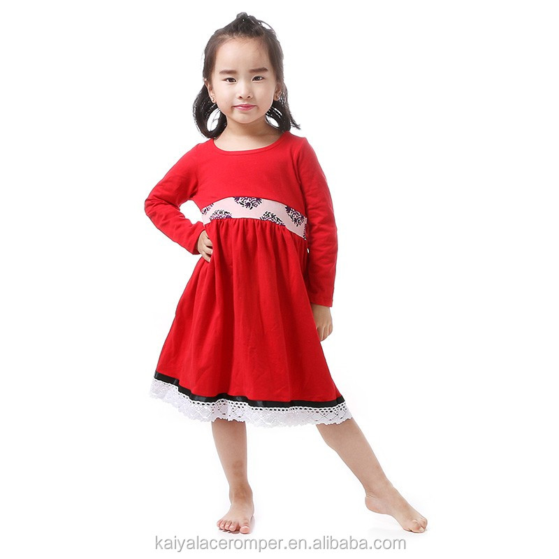 Wholesale baby girls dress photo modern girls dresses girls red frocks design long sleeve kids christmas dress