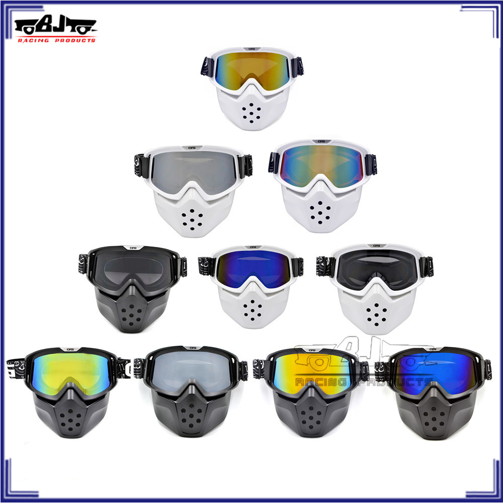BJ-MG-024 Motorcross Face Dust Mask Mouth Filter Detachable Goggles Open Face goggle