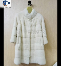 White color cross grain natural mink fur coat for ladies TD2009