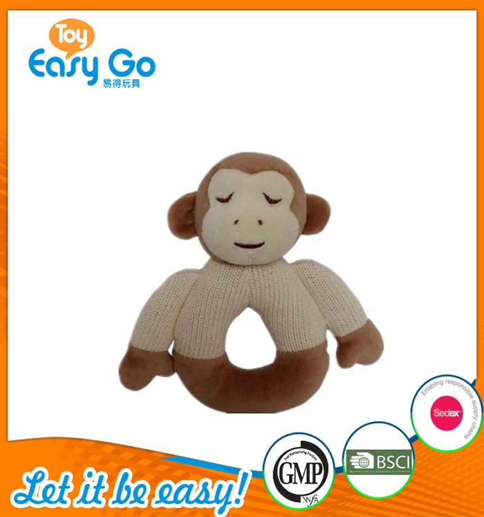 The knit soft plush rattle with the shape of monkey and sheep