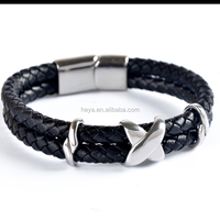 Fashion design Magnetic clasp PU leather bracelet