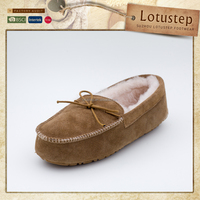 Wholesale Mens Sheepskin Moccasin with Non-slip Sole