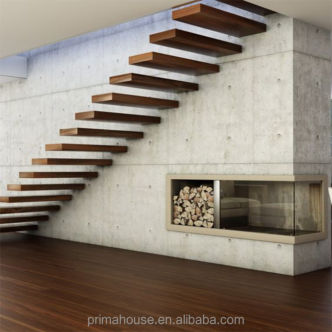 High quality curved stair modern home decorative glass wooden floating staircase