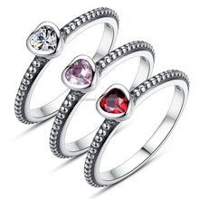 925 Sterling silver Cubic Zircon love heart original wedding ring wholesale