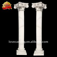 Hand carved outdoor white stone column