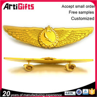 High quality gold plated metal wing pin badge