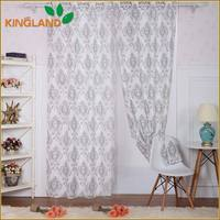 Unique design poly linen look printed dining room curtains