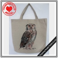 high quality owl design cotton polyester reusable folding shopping bag