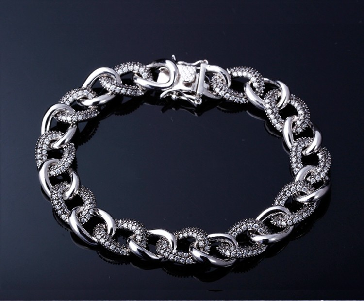 Thick Chain 2-Tone Plated High Quality Cubic Zirconia Trendy Women Link Bracelets