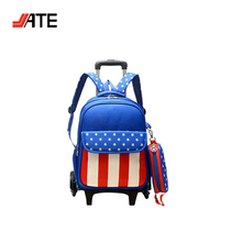 Colorful Convenient Durable with Trolley Detachable Rolling Satchel Bag Light Up Trolley Backpack for Kids