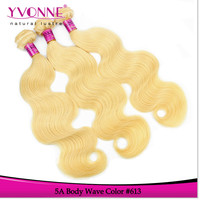 Color 613 remy straight peruvian hair weave blonde virgin hair