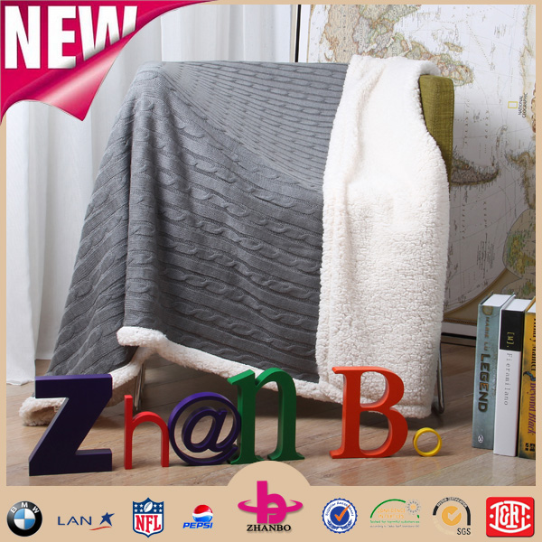Cotton/acrylic/polyester yarn fabric knitted thick warm soft two layers fleece blanket