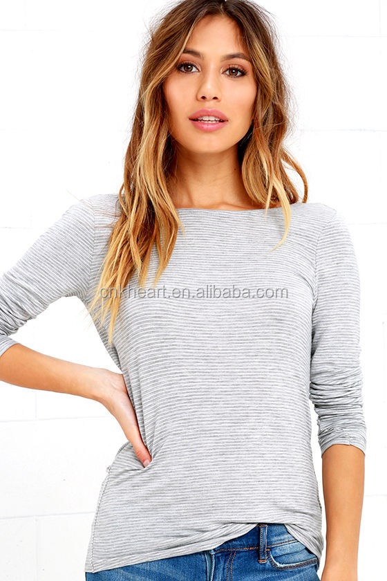 Factory Price New Grey Boat Back Neck Striped Long Sleeve Casual Blouses Designs For Women 2016