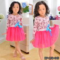 chiffon long sleeve baby knitted printed cotton daily dresses girl spring dress