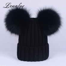 2017 Russian Style Acrylic Beanie Knitted Fur Hat