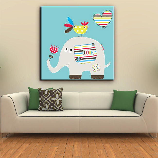Elephant picture ink friendly house decor kids canvas painting