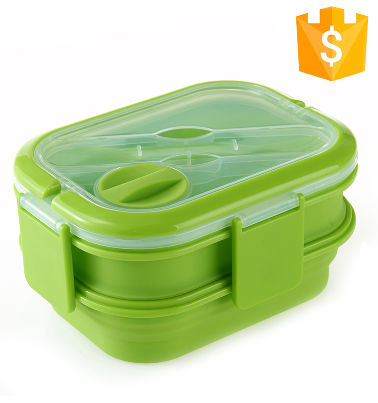 Retractable Heatable Microwave Collapsible Dual Layer leakproof Silicone Folding Lunch Box For kids Food Container