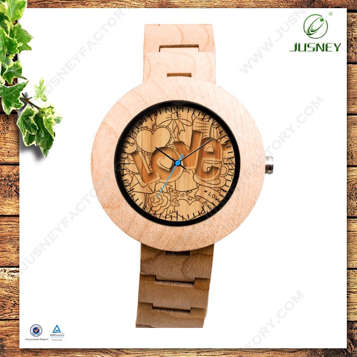New Arrival Natural Marble Dial Fashion Men's Bamboo Wooden Wristwatches Luxury Wood Watches for Women as Gifts Item