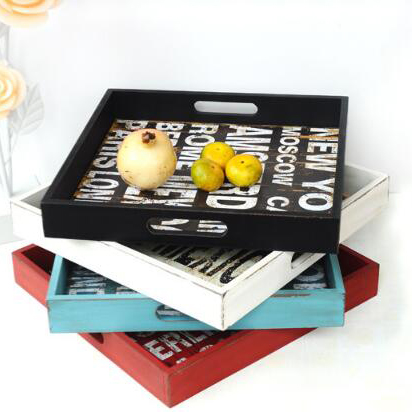 new and cheap handicraft custom printing shaby chic home deco multicolor personalized wooden tray