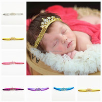12pcs/lot Princess Girl Newborn Crystal Crown Children Hair Bandbaby Headwear Rhinstone band Toddle Accessories Jewelry