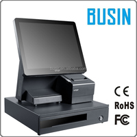 "China factory price BUSIN 15"" touch pos terminal with 80mm printer"
