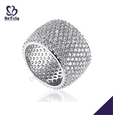 Brilliant for party female silver bijoux zirconium inlaid rings