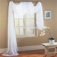 Home textile Solid blue scarf ready made polyester hotel quality sheer curtains
