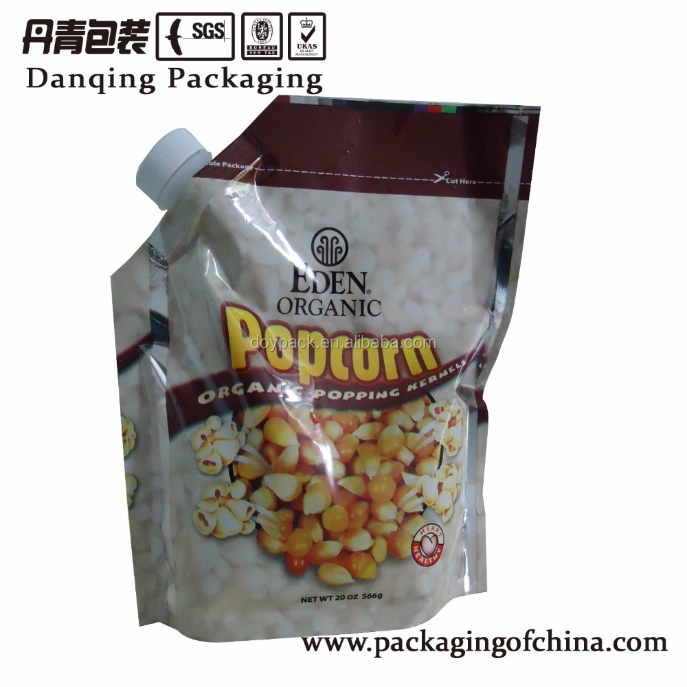 Popcorn big spout laminating pouch packaging