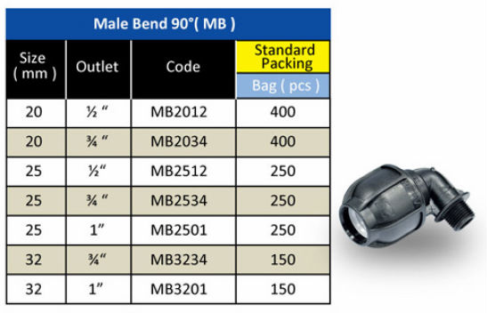 HDPE Pipe Fitting - Male Bend 90