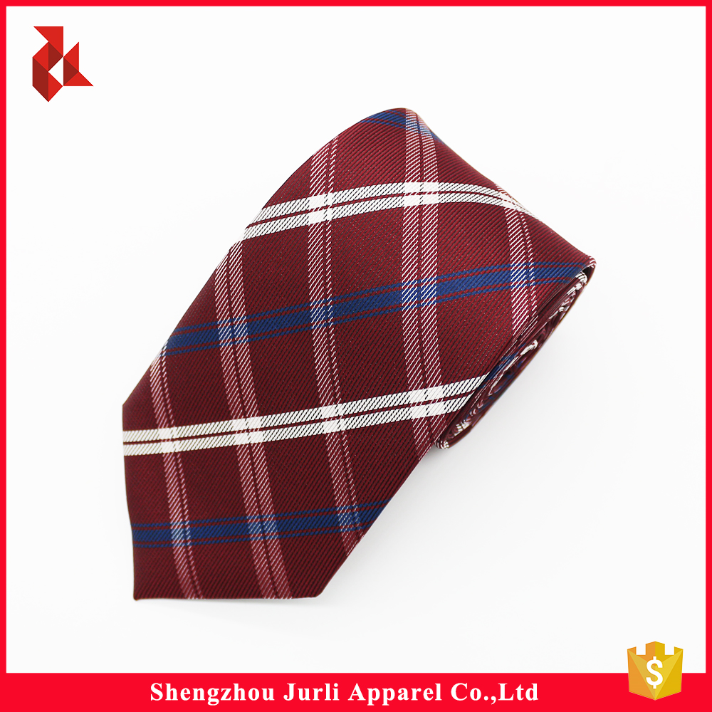 Extra Long Fashion Polyester Burgundy Checked Ties