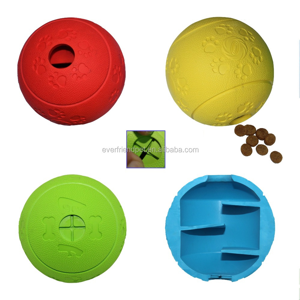 Durable Rubber Dog Treat Ball , Dog Toys .- New