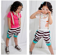 2015 Popular Import Items Kids Summer Top And Ruffle Stripe Pant Clothes Suit