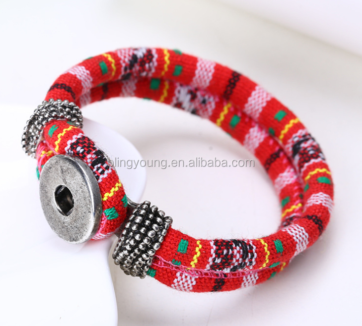 Pattern printed Jewelry Type snap button bracelet wholesale