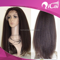130% Density Yaki Swiss Lace Wigs Virgin Color 100% Full Hand-tied Brazilian Virgin Human Natural Hair Wig